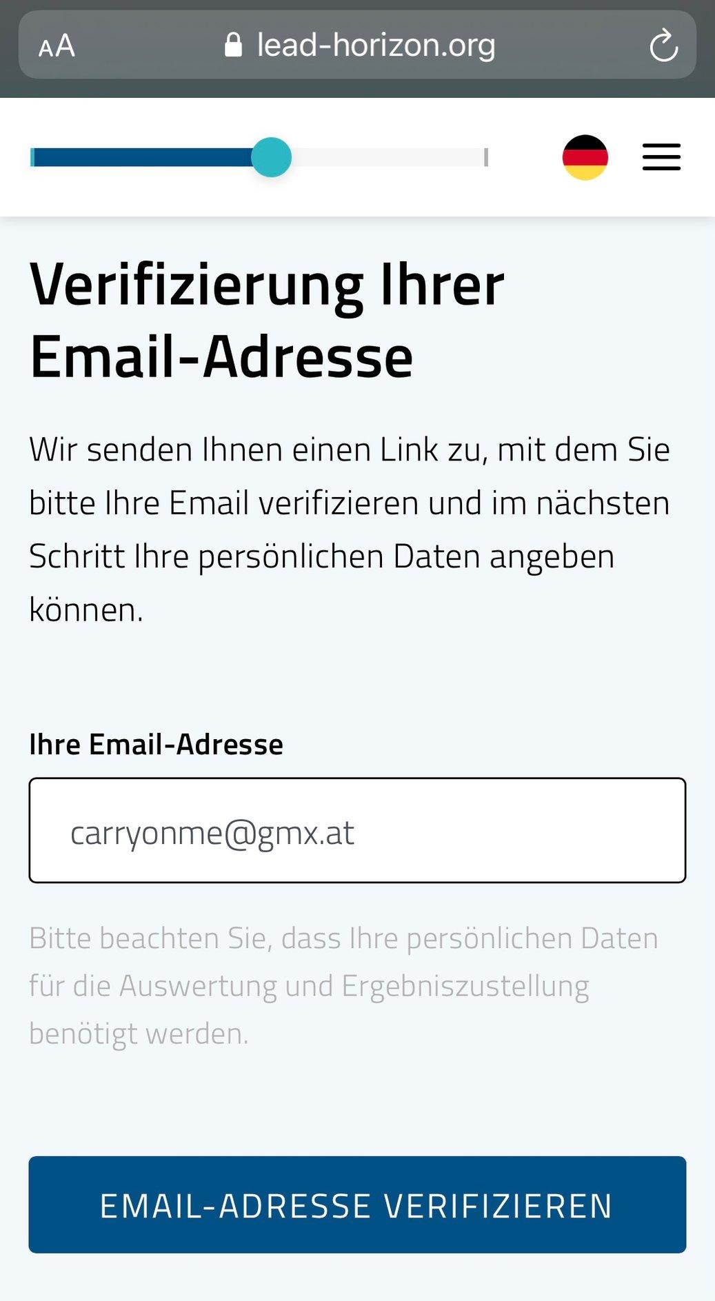 Verifizierung 1 in der WebApp